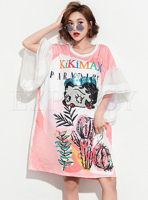 Chic Cartoon Pattern Sequins Loose T-shirt Dress