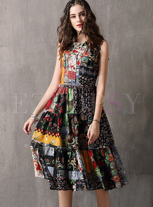 Vintage Standing Collar Sleeveless Waist Pleated Dress