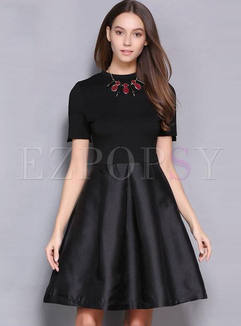Elegant Black Splicing O-neck High Waist Slim Skater Dress
