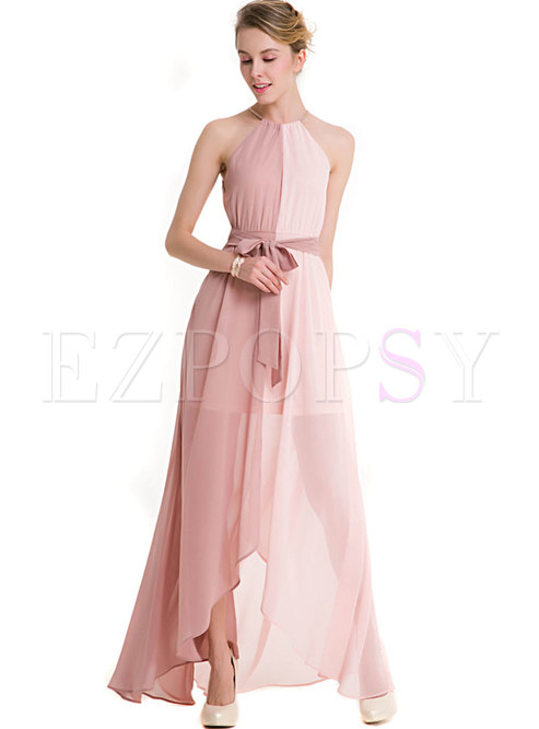 Color-blocked Tie-waist Sleeveless Asymmetric Maxi Dress