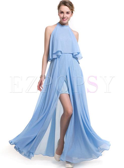 Solid Color Sleeveless Slim Maxi Dress