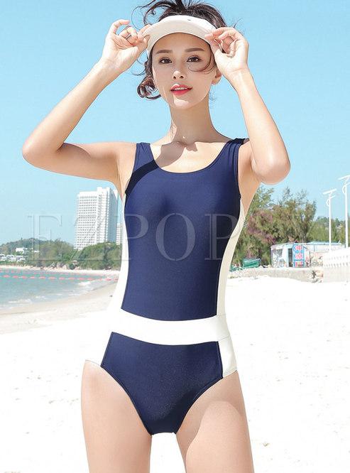 Stylish Color-blocked Slim One Piece Swimwear