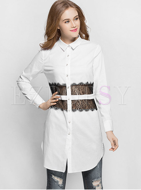 Color-blocked Lace Splicing Lapel Asymmetric Blouse