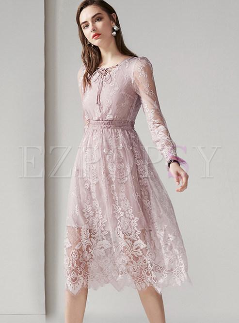 Long Sleeve Lace Splicing Mesh Big Hem Dress
