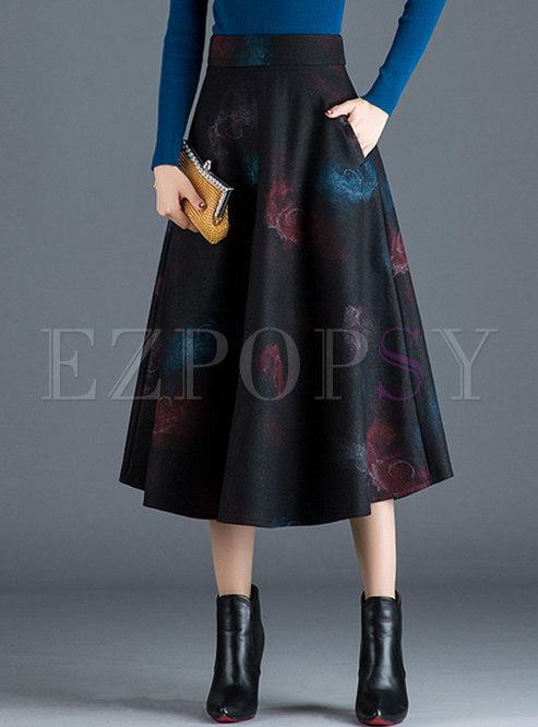 Vintage Print High Waist A Line Skirt