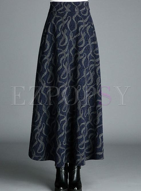Stylish Print High Waist Hem Skirt