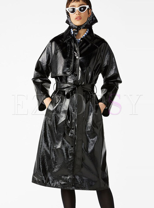 Chic PU Lapel Belted Slit Single-breasted Coat