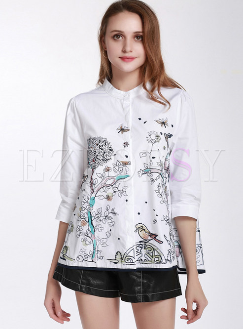 Three Quarters Sleeve Embroidered Blouse