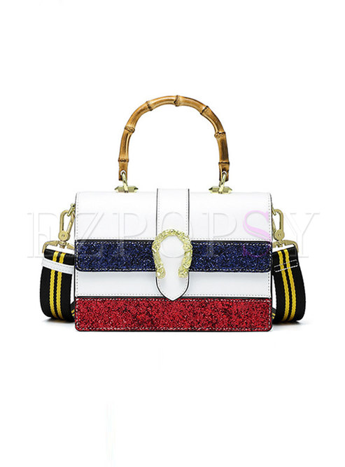Color-blocked PU Magnetic Lock Top Handle & Crossbody Bag