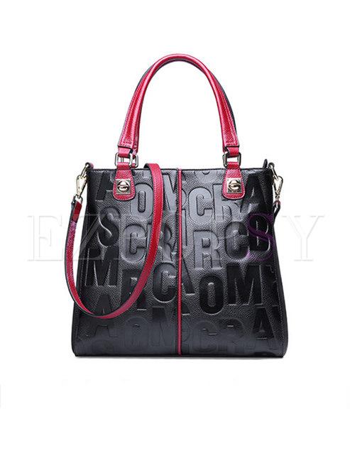 Stylish Color-blocked Letter Pattern Leather Bag