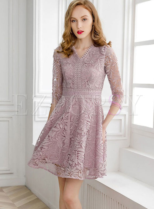 Elegant V-neck Half Sleeve Lace High Waist Dress