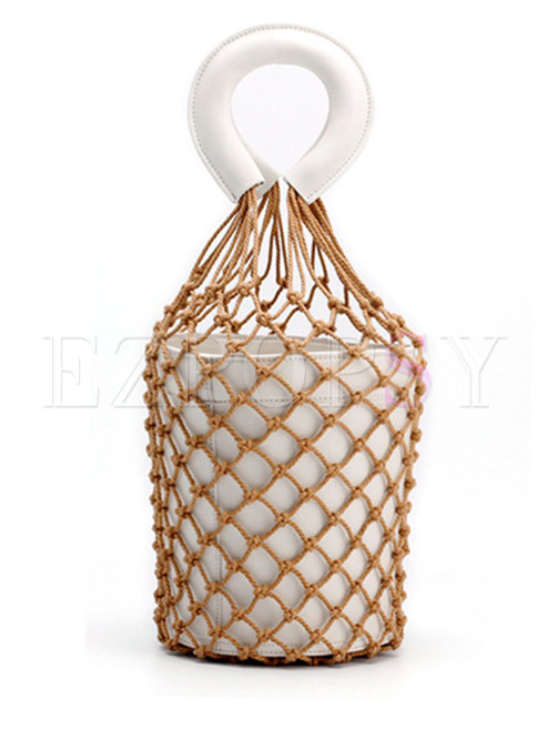 Chic Leather Fish Net Top Handle Bag