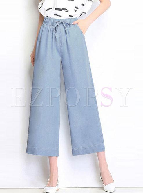 Light Blue Elastic High Waist Wide Leg Pants