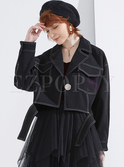 Stylish Turn Down Collar Extra Short Coat