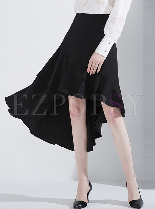 Chic High Waist Asymmetric Falbala Skirt