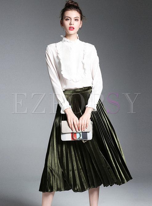 Ruffled Collar Slim Blouse & High Waist Pleated Skirt