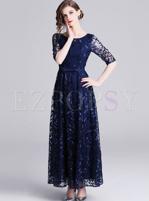 Elegant Party Sequined Mesh Splicing Maxi Dress