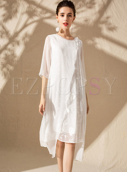 Elegant Splicing Embroidered Asymmetric Shift Dress