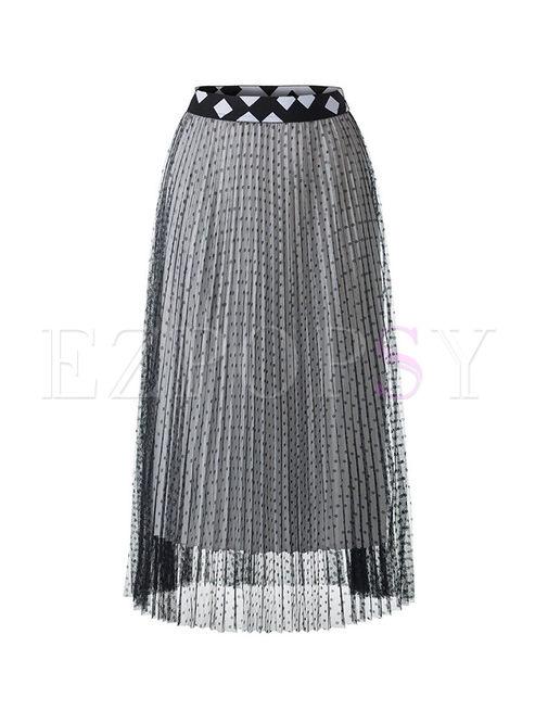 Elegant High Waist Polka Dot Mesh Skirt
