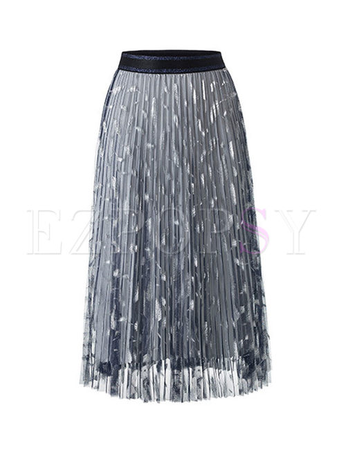 Sweet Slim Mesh Feather A Line Skirt