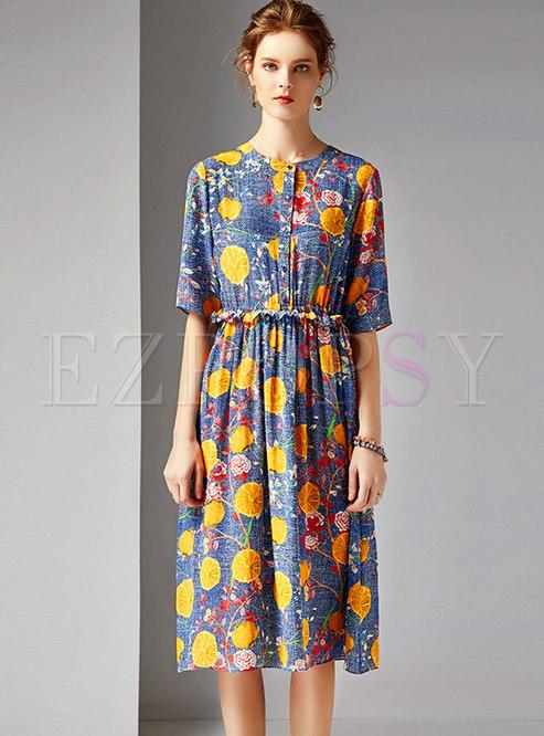 Floral O-neck Gathered Waist A Line Dress
