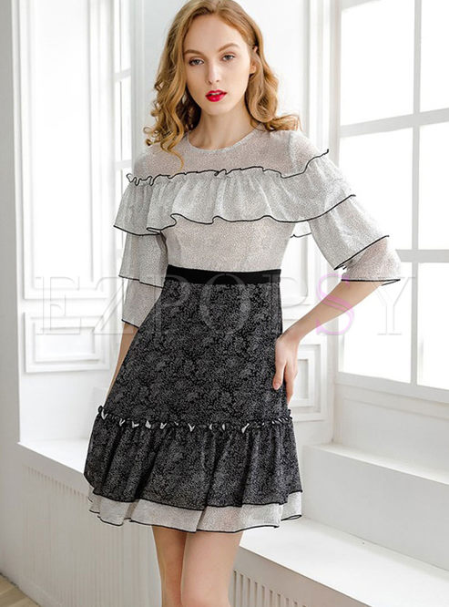 O-neck Half Sleeve Patchwork High Waisted Dress