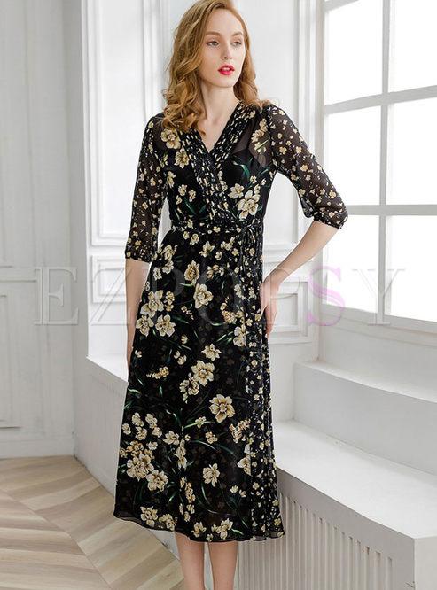 Fashion V-neck Half Sleeve Print Maxi Dress