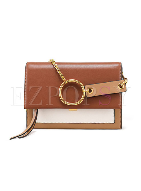 Stylish Color-blocked Cowhide Leather Chain Crossbody Bag