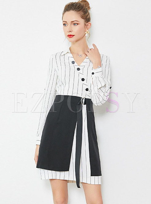 Chic Striped V-neck Slim Dress With Mini Skirt