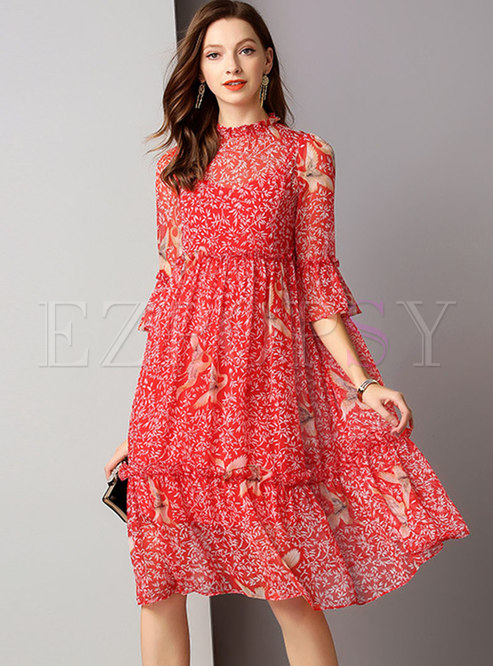 Print Flare Sleeve High Waist Skater Dress