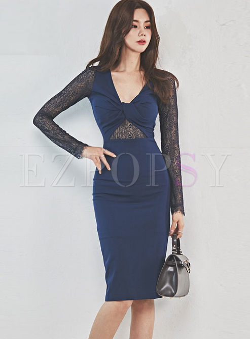 Sexy Color-blocked V-neck Lace Splicing Dress