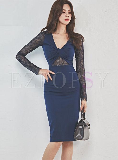 Sexy Color-blocked V-neck Lace Bodycon Dress