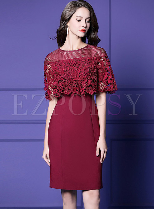 Elegant Lace Cape See-though Sheath Dress