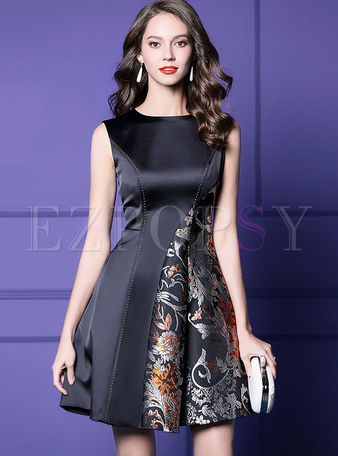 Print Splicing Sleeveless Slim A Line Dress