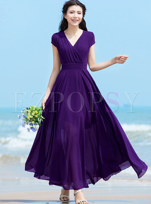 Brief Solid Color Chiffon Beach Maxi Dress