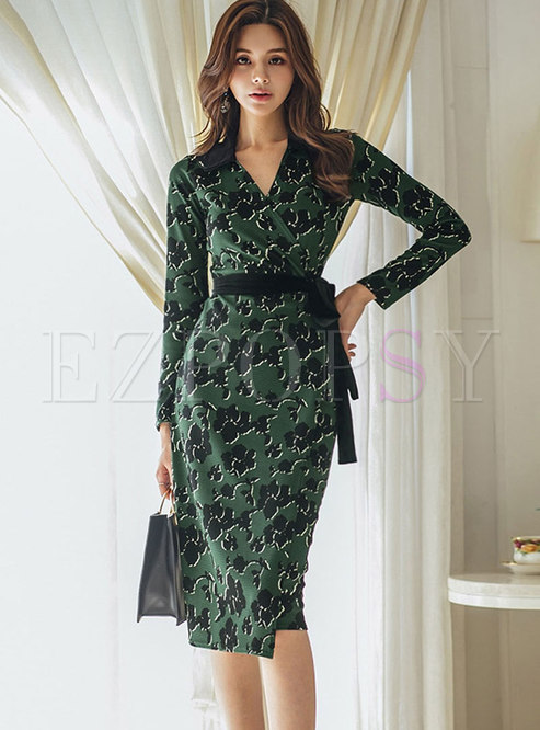 Sexy V-neck Long Sleeve Print Bodycon Dress