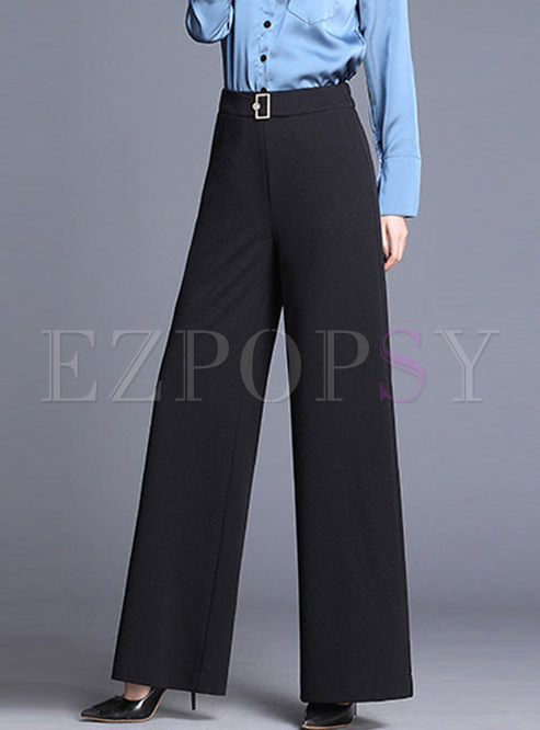 Brief Solid Color Slim Wide Leg Pants