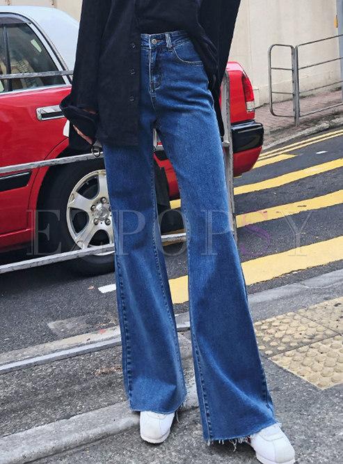 Chic Denim Rough Selvedge Wide Leg Pants