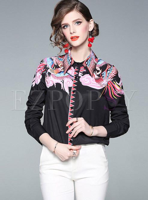 Fashion Lapel Single-breasted Print Blouse