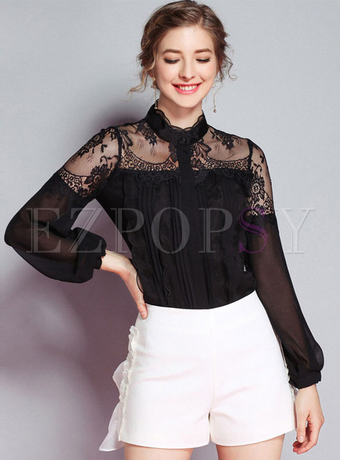 Solid Color Lace See-though Blouse