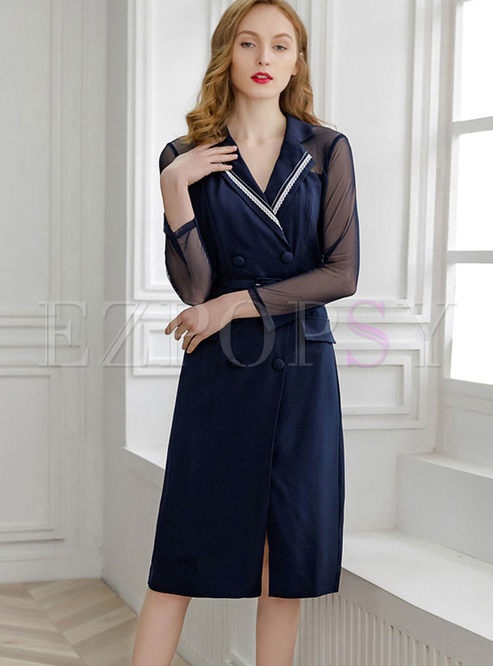 Fashion Notched Long Sleeve Chiffon Slim Dress