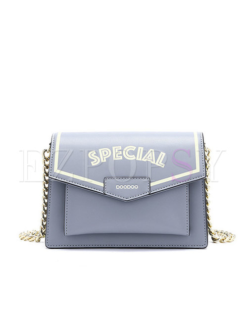 Letter Print Magnetic Lock Chain Crossbody Bag