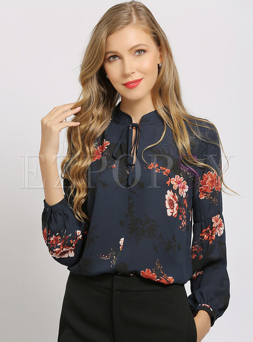 Print Stand Collar Bowknot Pullover Blouse