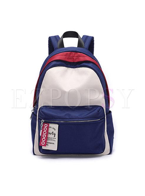 Casual Women Color-blocked Zipper Backpack