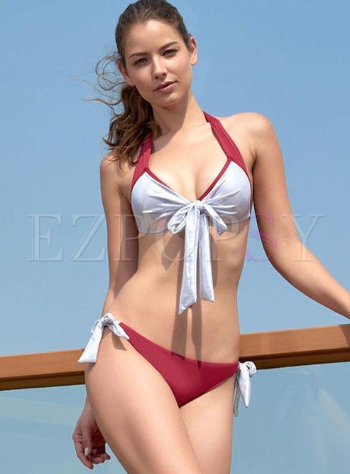 Color-blocked Halter Bowknot Bikini