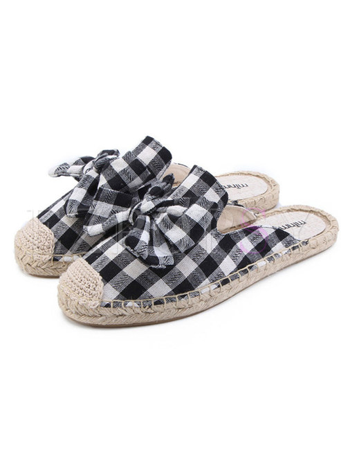 Plaid Bowknot Breathable Flat Slipers