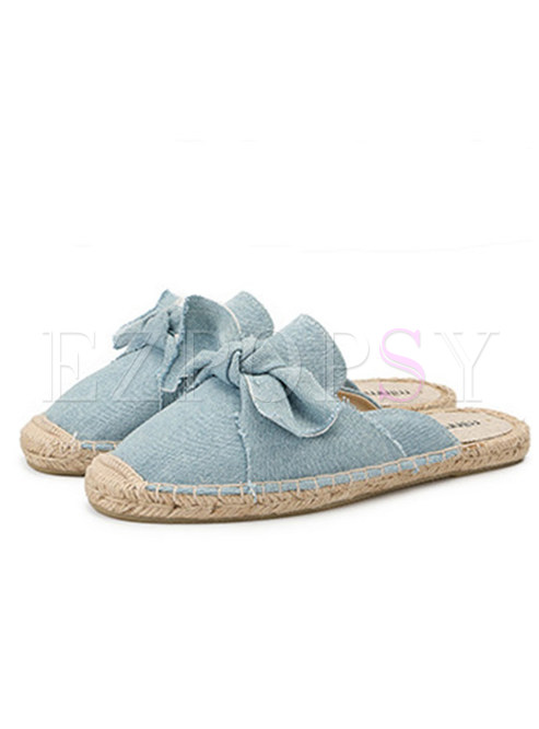 Casual Ox-tendon Sole Bowknot Daily Slipers