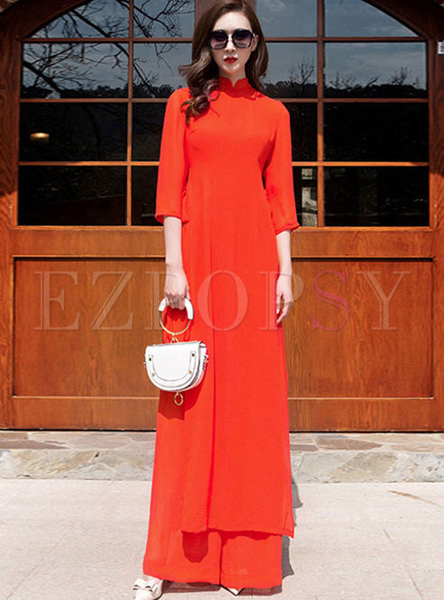 Mandarin Collar Wide Leg Two Piece Outfits