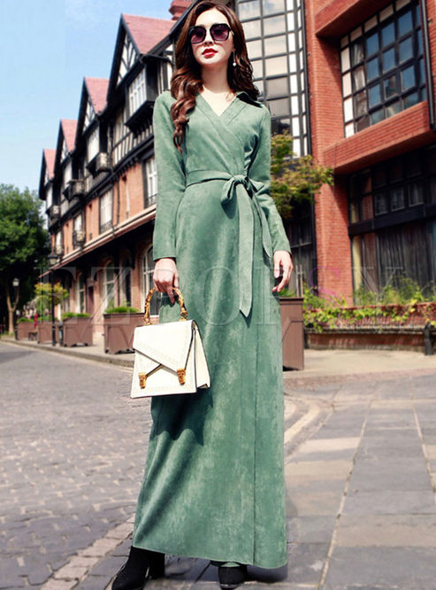 Fashion V-neck Bowknot Waist Slit Maxi Dress