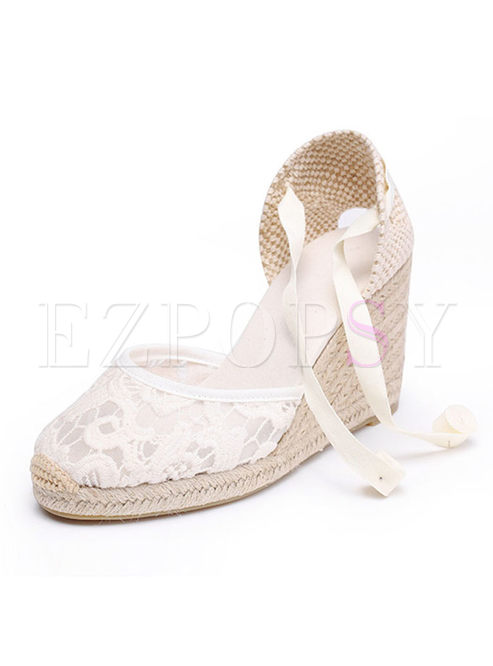 Stylish Lace Wedge Heel Summer Sandals
